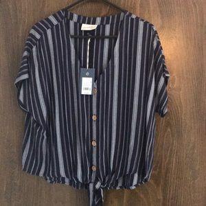 Universal Thread Short Sleeve Tie Front Top